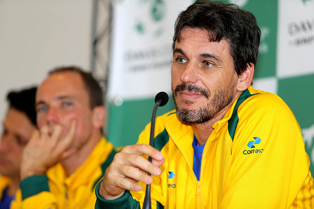 João Zwetsch durante confronto da Copa Davis em 2016