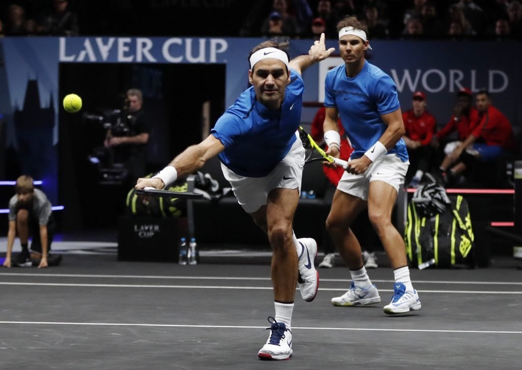 Federer e Nadal formam duplas na edição de 2017 (Petr David Josek - 23.set.17/Associated Press)